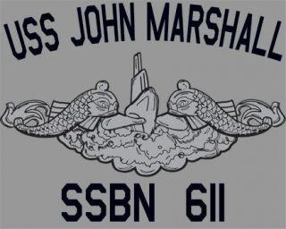 US Navy USS John Marshall SSBN 611 Submarine T Shirt