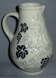 BLUE GRAPE LEAVES SALT GLAZE STONEWARE GERMAN PITCHER RECENT VINTAGE