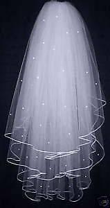 Layers ivory Wedding Bridal Dress Tiara Beads Veil Scarf/Shawl With