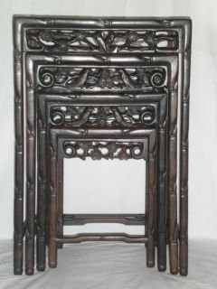 Hand carved Rosewood Asian Oriental Nesting Accent Side Tables Birds