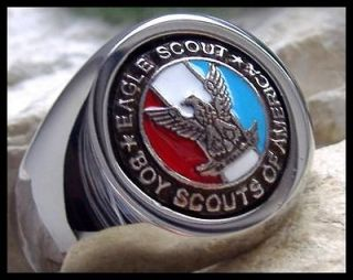 US SIZE 6.5   EAGLE SCOUT BOY SCOUTS BSA SURGICAL SILVER STEEL RING M3