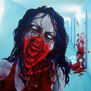 SHOWER CURTAIN original art surrealism gothic horror bloody red nlsc