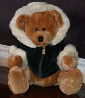 Collectible HARRODS large Christmas teddy bear 2001 green plush hoodie