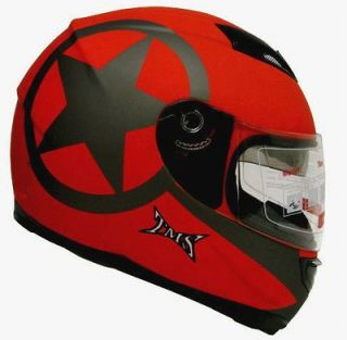 RED DUAL 2 VISOR FULL FACE MOTORCYCLE HELMET W/SMOKE SUN SHIELD~M