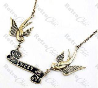SWALLOW tattoo ROCKABILLY lucky VINTAGE brass BIRD NECKLACE birds ROCK