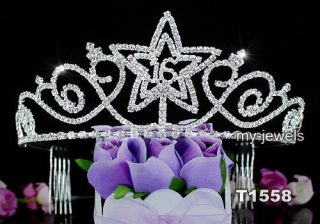 Sweet 16 Star Sparkling Crystal Qunicenera Silver Tiara AT1558