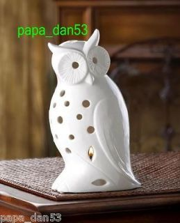 white ceramic wise owl tealight statue candle holder collectible decor