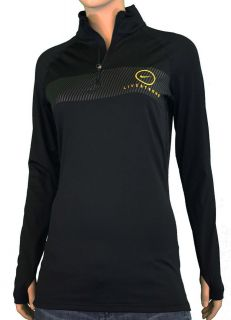 WOMENS NIKE LIVESTRONG PRO COMBAT BLACK DRI FIT RUNNING TOP SzM