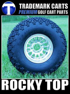 NEW 10x7 Gold Medusa Golf Cart Wheels and All Terrain Tires