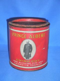 Vintage Round PRINCE ALBERT METAL TIN CAN Cigarette Pipe Rare Antique