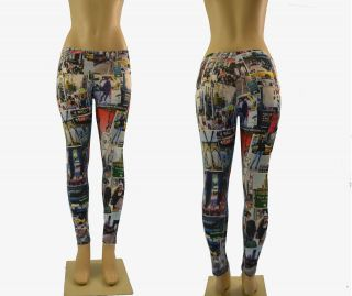 NYC New York City Magazine Print Skinny Spandex Stretch Tight Legging