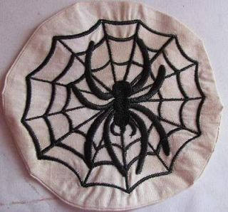 Handmade Machine Embroidery Halloween Spider with Web Candle Mat
