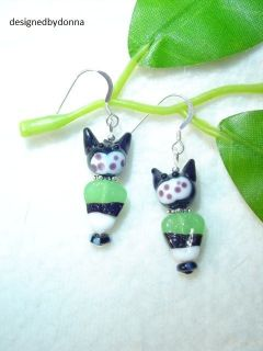 Candy Corn Black Cat Lamp Glass Halloween Spooky Earrings in Sterling