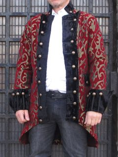 Regal Gothic Military Jacket Coat Brocade Top Quality Theatrical
