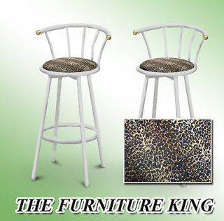 29 WHITE FINISH METAL BACKREST SWIVEL CHEETAH ANIMAL FAUX FUR PRINT
