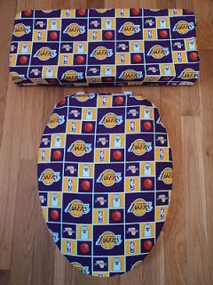 Angeles LAKERS. Basketball Toilet Seat & Tank Lid Cover Set