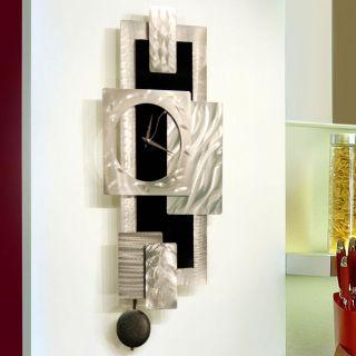 Modern Abstract Black Silver Pendulum Metal Wall Art Sculpture Titan