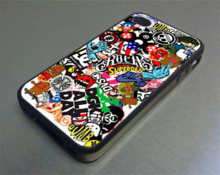 skateboard stickerbomb fits iphone 4 4s cover case, sticker bomb