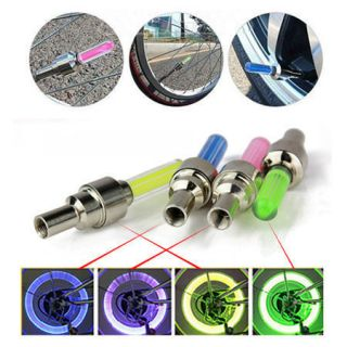 Bike Bicycle Wheel Tire Valve Cap Neon LED Lights Safety Lamp