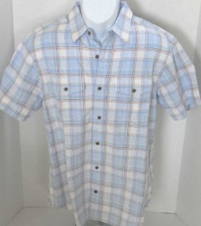 BANANA REPUBLIC Mens Blue & White Plaid Linen Button Down Shirt S XXL