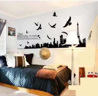Eiffel the Tower Wall Sticker Decor Decals Art Mutural Removable