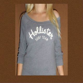 Hollister by Abercrombie Womens sweater shirt NWT NEW grey size large