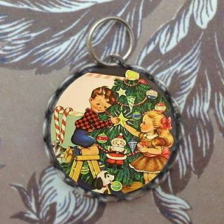 Brother Sister Decorating Christmas Tree Silver Bubble Charm, Bracelet