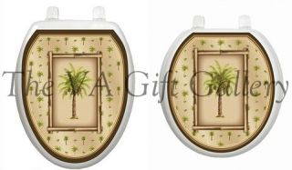Toilet Tattoo, Decor, Restroom, Appliqué, Decal, Cover, Palm Tree