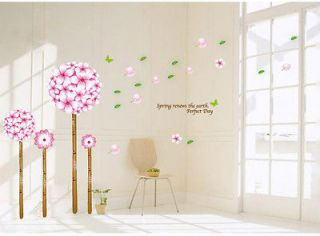 Hot Pink Beautiful Flower Tree Removable Wall Sticker Mural Wall