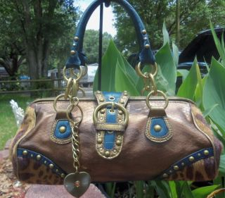 West Turquoise blue and Animal print Baguette Satchel Handbag Purse