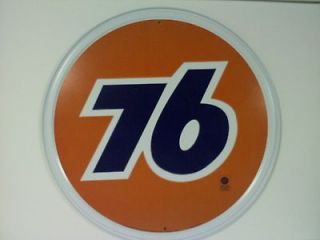 UNION 76 GAS AND OIL ROUND TIN SIGN