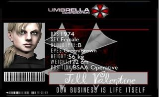Umbrella Corporation Jill Valentine ID Card Cosplay Ids