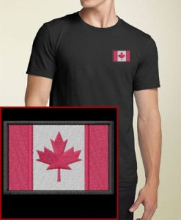 Canadian Flag EMBROIDERED Black Canada T Shirt Tee NEW