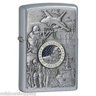 CHROME DEFENDERS OF FREEDOM AUTHENTIC ZIPPO LIGHTER   Made in USA