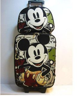 Mickey Mouse Trolley Travel Luggage Bag Roller Baggage 2PC KIT Set