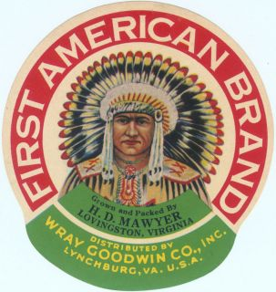 INDIAN CRATE CAN PRODUCT LABEL ADVERTISING WAR WAR BONNET VIRGINIA