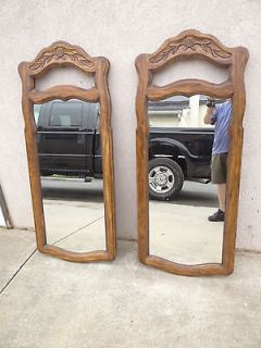 pair Drexel Cabernet country french carved dresser wall mirrors