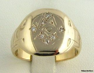 Vintage Diamond Masonic Square Compass Ring   10k Gold Solid Back