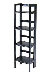 Tier Folding Book Shelf Black Solid Wood Bookcase