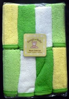SNUGLY BABY Unisex 8 Pack Washcloth Set White, Yellow, Green Size 9x