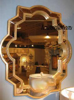 VENETIAN SCALLOP WALL MIRROR ANTIQUE D SILVER BATH BATHROOM MANTEL