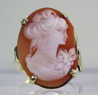 ANTIQUE CARNELIAN SHELL HAND CARVED CAMEO ITALIAN 14K YELLOW GOLD RING