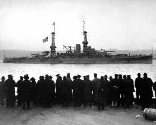 1918 MR Battleship Arizona Passes 96th St. Pier In New York City 8x10