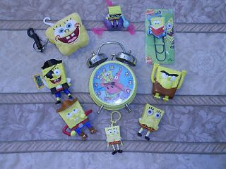 SPONGE BOB SQUAREPANTS ALARM CLOCK PLUS TOYS, PLUSH WALLET, BOOKMARK