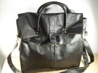 Black Leather Shoulder Messenger Cross Body Bag Pack Briefcase
