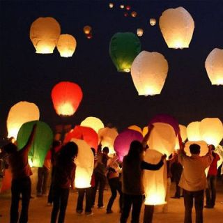 Color Chinese Lanterns Sky Fly Candle Lamp for Wish Party Wedding