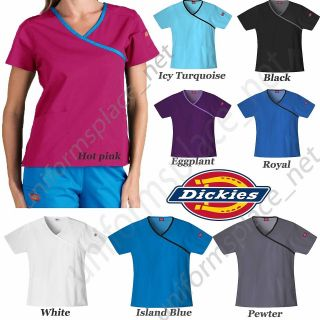 Dickies MEDICAL SCRUB Mock Wrap TOP 15206 Cross Over Nurse Contrast