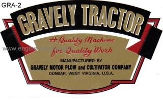 Gravely Tractor D and L early type decal gold, red, b&w
