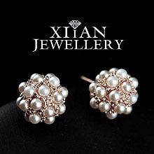 18K Rose Gold GP Small Pearls Ball Earrings