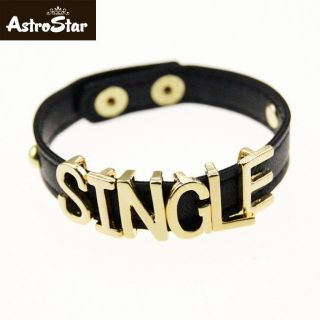 Fashion Cool Punk SINGLE Letter Leather Movable Cuff Bangle Bracelets